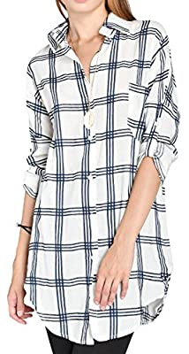 ililily Women Plaid Checkered Longline Shirt Dress Semi-Sheer Round Hem Blouse