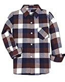 SANGTREE BOY Boys Kids Long Sleeves Button Down Check Plaid Flannel Shirt Tops, Brown, Age 4T-5T (4-5 Years) = Tag 120
