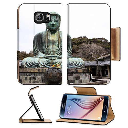 Luxlady Premium Samsung Galaxy S6 Edge Flip Pu Leather Wallet Case IMAGE ID: 23145250 Front view of Daibutsu giant statue in sitting position at Kamakura of Japan (Daibutsu Statue)