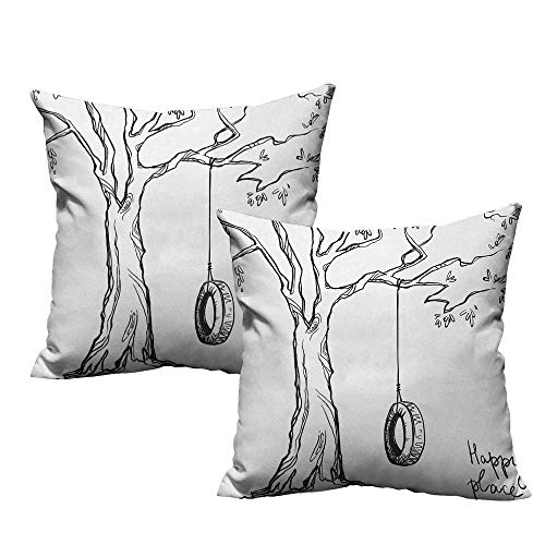 warmfamily Tree Square Pillowcase Tree with a Tire Swing Illustration Happy Place Summer Childhood Holidays Garden Without core W13 x L13 Black White -