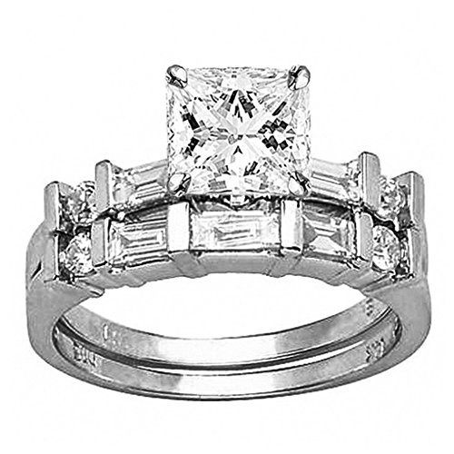 1.5 Ctw Princess Cut Channel Set Baguette And Round 14K White Gold Diamond Wedding Set (H-I Color I1 Clarity 0.75 Ct Center)