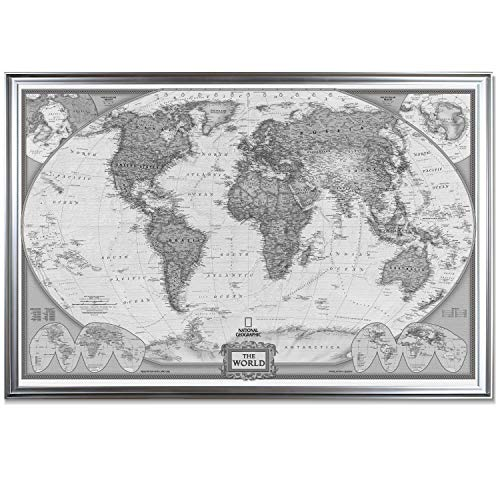 World Travel Map Wall Art Collection Executive National Geographic World Travel Map Fine Giclee Prints Framed Wall Art with Push Pin, Ready to Hang, 28X40, White/Black with Silver ()