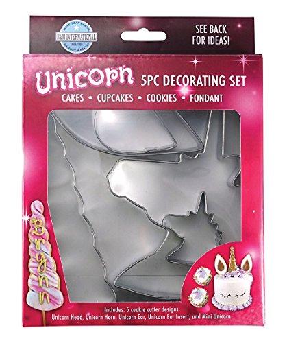 - R&M International 5122 Unicorn Cake Decorating Cookie Cutter Kit, Head, Horn, Ear, Insert, and Mini, 5-Piece Set