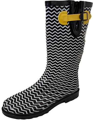 - G4U Women's Rain Boots Multiple Styles Color Mid Calf Wellies Buckle Fashion Rubber Knee High Snow Shoes (10 B(M) US, Black/White Chevron)