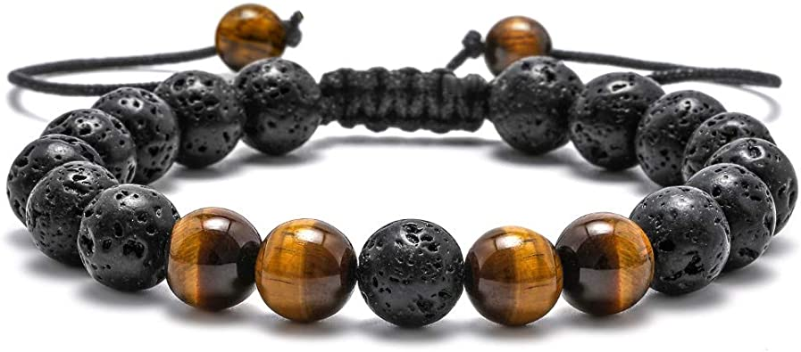 Natural Lava Stones /& Amazonite men/'s healing bracelet 6mm stretchy beaded bracelet intention stretchy bracelet Freedom