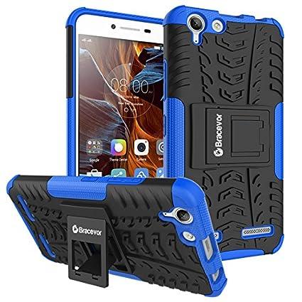 outlet store 0b61c b1547 Bracevor Shockproof Hybrid Kickstand Defender Back Case Cover for Lenovo  Vibe K5, K5 Plus(Blue)