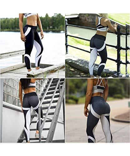 CFR Women's Printed Yoga Pants Gym Sport Workout Leggings High Waist Sexy Elastic Comfy Tights 1 Black White XL