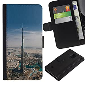 Samsung Galaxy S5 Mini / SM-G800 (Not For S5!!!) Modelo colorido cuero carpeta tirón caso cubierta piel Holster Funda protección - Architecture Dubai Skyscraper