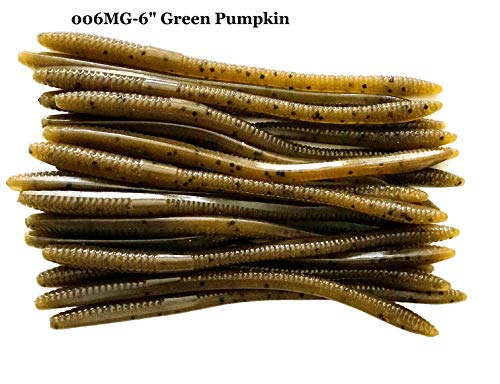 """20 Pcs 6"""" Drop Shot Finesse Worms (Green Pumpkin) Scented Soft Fishing Lures, Bass Fishing Worms"""