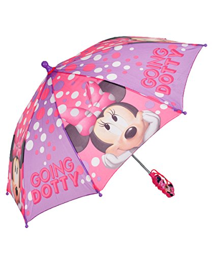 Minnie Mouse Pink and Purple Going Dotty Girls Umbrella (Minnie Mouse Rain Boots For Girls compare prices)