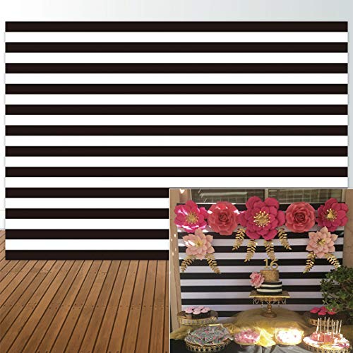 Allenjoy 7x5ft Fabric Photography backdrops Christmas Geometric Black and White Stripe Zebra Crossing line Banner Birthday Party Wedding Decoration Photo Studio Booth Newborn Baby Shower Background