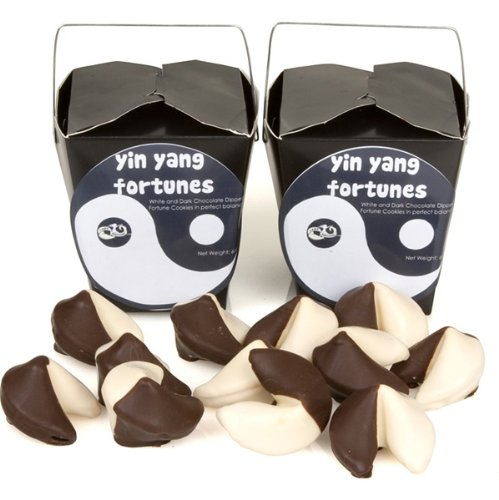 Yin & Yang Hand-Dipped Gourmet Fortune Cookies- Take Out Pail of 6 Chocolate Dipped Fortune Cookies
