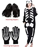 ReachMe Adult Animal Onesies Pajamas Stitch Skeleton Dinosaur Costumes Loungwear Pjs(3 Skeleton,M)