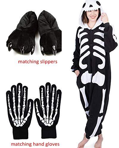 ReachMe Adult Animal Onesies Pajamas Stitch Skeleton Dinosaur Costumes Loungwear Pjs(3 Black,L)]()