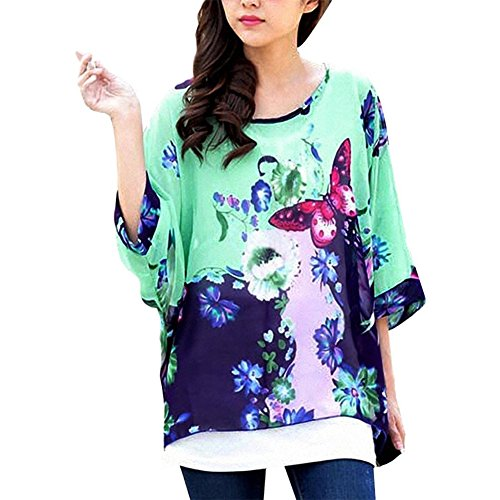 Mujeres Blusa Batwing Manga Corta Túnica de Gasa Blusa Camiseta Top 3/4 sin chaleco Color31