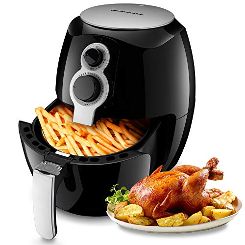 Homeleader Air Fryer, 2.6 Liter Hot Air Fryer, 1400W Oil Free Air Cooker with Timer & Temperature Control, Auto Shut Off, Black