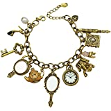 Q&Q Fashion Vintage Fairytale Charms Cinderella Alice in Wonderland Narnia Style Novelty Chain Bangle Bracelet