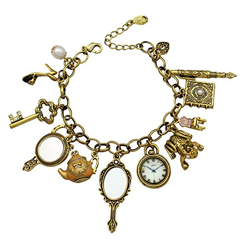 Gold Plated Q&Q Fashion Vintage Fairytale Charms Cinderella Alice in Wonderland Narnia Style Looking Glass Chain Bangle Bracelet -