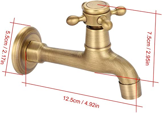Blesiya Antique Water Tap Decorative Brass Water Faucet Wall Mounted #1