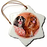 Dogs - Cavaliers on pillows, MR - 3 inch Snowflake Porcelain Ornament by Valentine Herty
