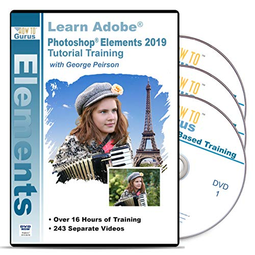 Adobe Photoshop Elements 2019 PC Training on Disc 3 DVDs Over 19...