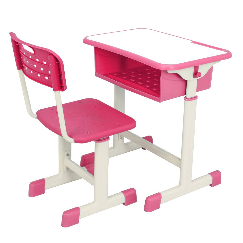 POCHDUDY Student Desk and Chair Set, Height Adjustable Children's Desk and Chair ,School Study Desk Table Work Station with Drawer Storage by POCHDUDY