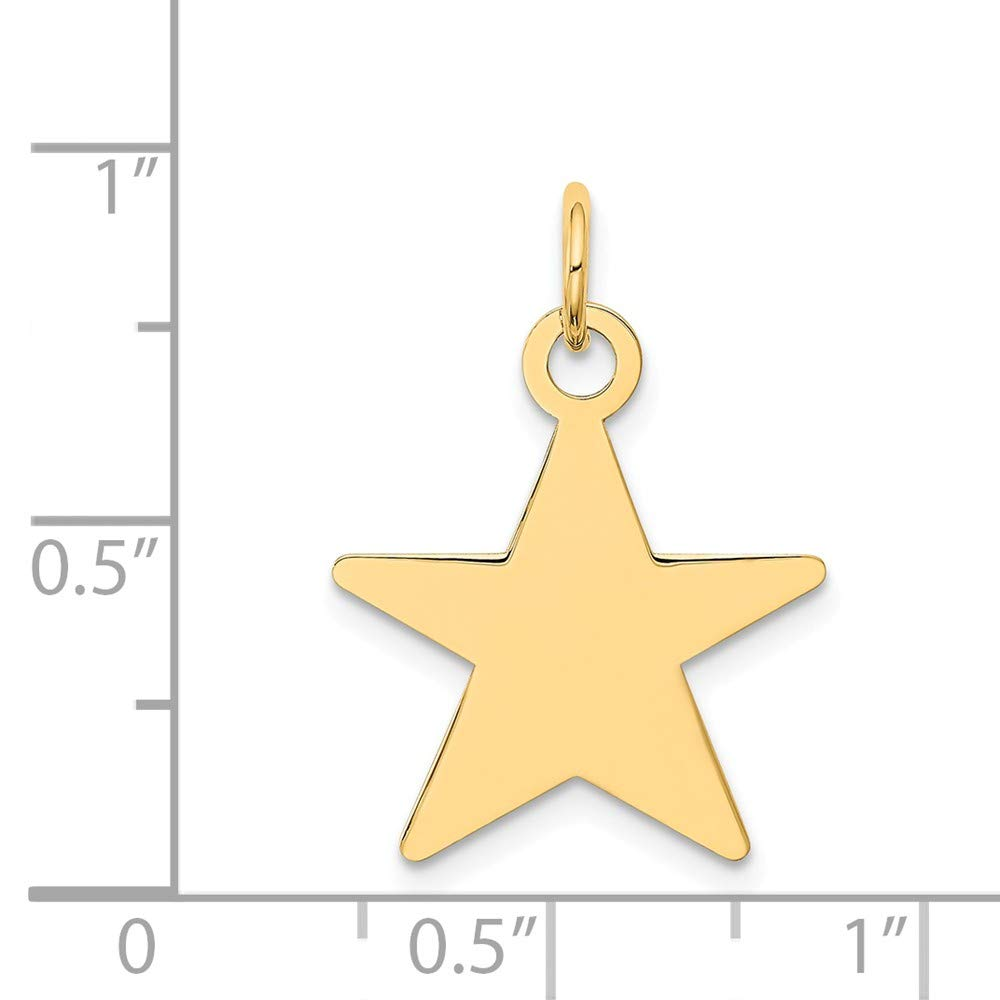 14k Yellow Gold Engravable Polished Star Disc Charm 0.9IN long x 0.7IN wide