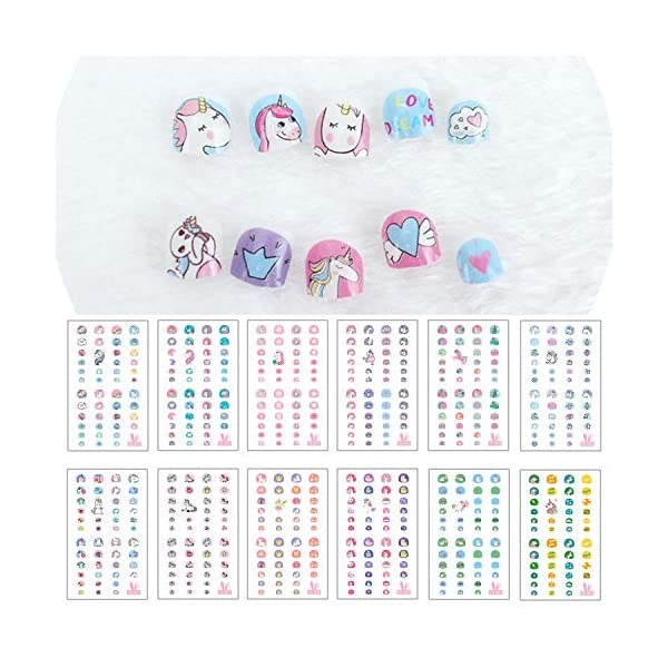 Elesa Miracle Kids Unicorn Nail Stickers for Little Girl Nirl Art Decals Unicorn Party Favor Pretend Play Princess Jewelry 480 Nails 3