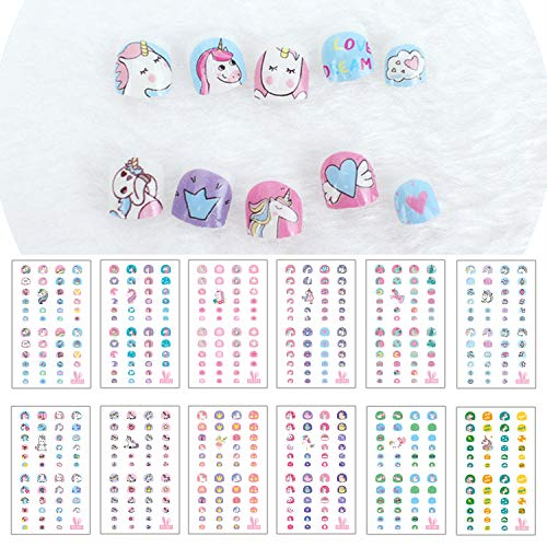 nicorn Nail Stickers for Little Girl Nirl Art Decals Unicorn Party Favor Pretend Play Princess Jewelry 480 Nails ()