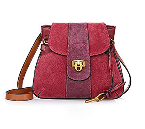 GHMM Bolso de cuero bolsa de mensajero de hombro simple bolsa helada bolsa de sillín bloqueo hebilla de trabajo casual calle de la calle (Color : Winred) Winred