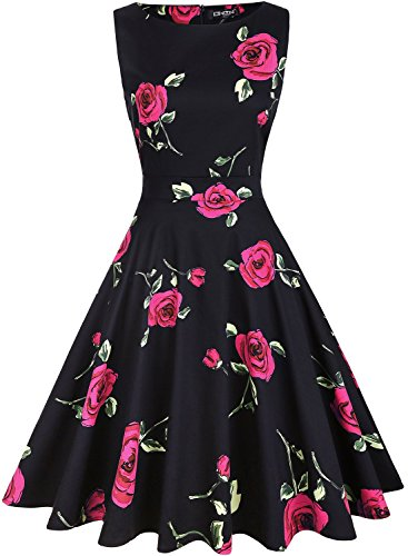 (OWIN Women's Vintage 1950's Floral Spring Garden Picnic Dress Party Cocktail Dress )