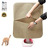 WePet Original Cat Litter Mat Anti-Tracking Trapping Large Jumbo Size Honeycomb Double Layer Waterproof Urine Proof for Hooded/Furniture Box Pan Easy Clean Floor Carpet Scatter Control Time Saver