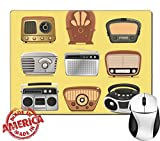 "Luxlady Natural Rubber Mouse Pad/Mat with Stitched Edges 9.8"" x 7.9"" Retro revival radios hi fi tuner broadcasting system vector illustration IMAGE 33983459"