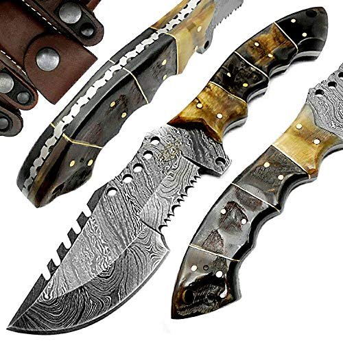 "Ram Horn 9.5"" Tracker Fixed Blade Custom Hand Made Damascus Steel Hunting Knife 100% Prime Quality"