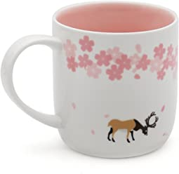 EPFamily Pink Elk Mug Deer Mugs Ceramic Funny Novelty Cute Animal Coffee Tea Cups with Lid for Coffee Lover Office Home 14 OZ Christmas Present Gift Best Birthday Gift for Women Girls