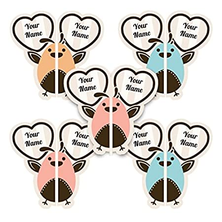 Animal Faces Theme Personalized Waterproof Scuff-Proof Match-up Shoe Labels