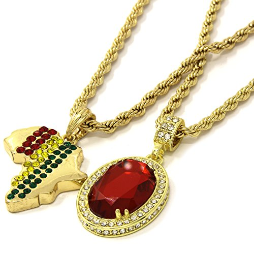 Mens Gold Rasta Africa & Red Ruby Bundle Set Pendant Hip Hop 24