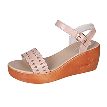 71a0a8e3713e8 Women Wedge Sandal - Ladies Peep Toe Hollow Out Ankle Strap Buckle Platform  Sandals - Summer