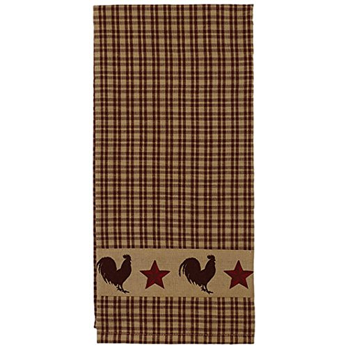 Rooster and Barn Stars on Country Plaid 19 x 28 Inch Applique All Cotton Hand Tea Towel by The Country House Collection (Image #1)