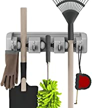 Shovel, Rake and Tool Holder with Hooks- Wall Mounted Organizer for Garage, Closet, or Shed-Hang Home and Gard