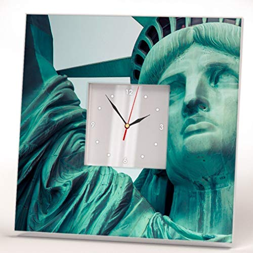 Liberty Statue Wall Clock Framed Mirror New York Harbor Skyline Home Decor Printed Fan Art Gift