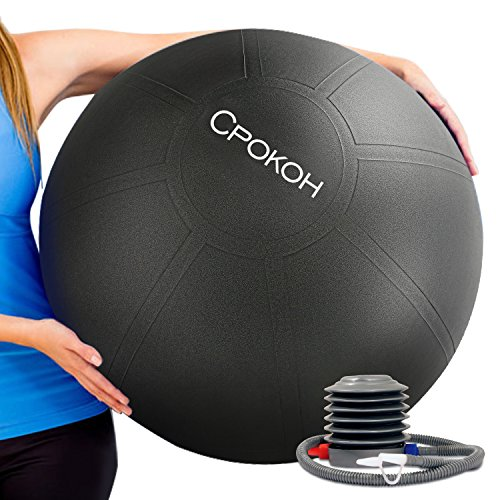 CPOKOH Exercise Ball,Anti Burst and Slip Resistant Yoga Ball,Swiss Ball,Fitness Ball,Ab Exercise Ball,Gym Ball,Workout ball,Body Balance Ball, with Foot Pump – DiZiSports Store