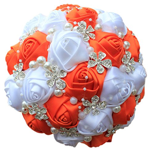 S-SSOY Wedding Bouquet Bride Bridal Brooch Bouquets Bridesmaid Bouquet Diamond Pearl Ribbon Valentine's Day Confession Party Church with Free Corsage Flower, Orange+White