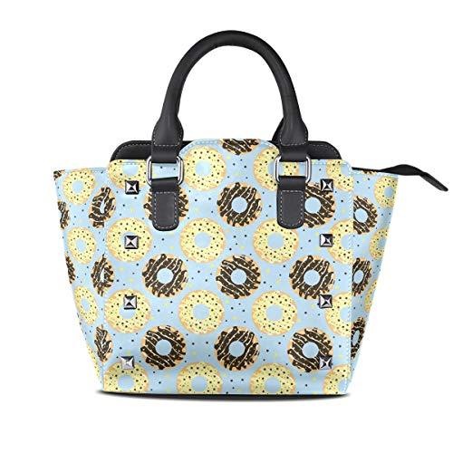 Blue Chocolate Glazed Donut Women Top Handle Satchel Handbags Shoulder Bag Tote Purse Messenger Bags