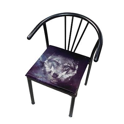 Bardic FICOO Home Patio Chair Cushion Galaxy Space Wolf Square Cushion Non-Slip Memory Foam Outdoor Seat Cushion, 16x16 Inch: Home & Kitchen