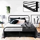 GreenForest Full Bed Frame Metal Platform Mattress Base Black Bed with Vintage Headboard Box Spring Replacement, Full