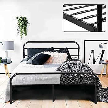 Green Forest Full Bed Frame Metal Platform Mattress Base Black Bed With  Vintage Headboard Box Spring