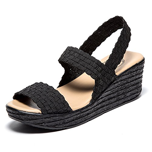 EnllerviiD SNT0075heise36 Women Open Toe Woven Slingback Sandals Summer Mary Jane Platform Wedges Shoes Black 5.5 B(M) US (Open Mary Janes Toe Platform)