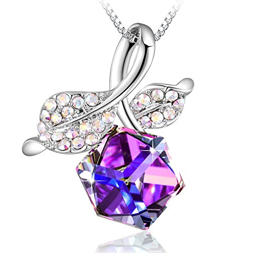 """PLATO H Romantic Rose Leaf Pendant Necklace with Swarovski Cube Crystals Women Necklace Gift, 18"""""""