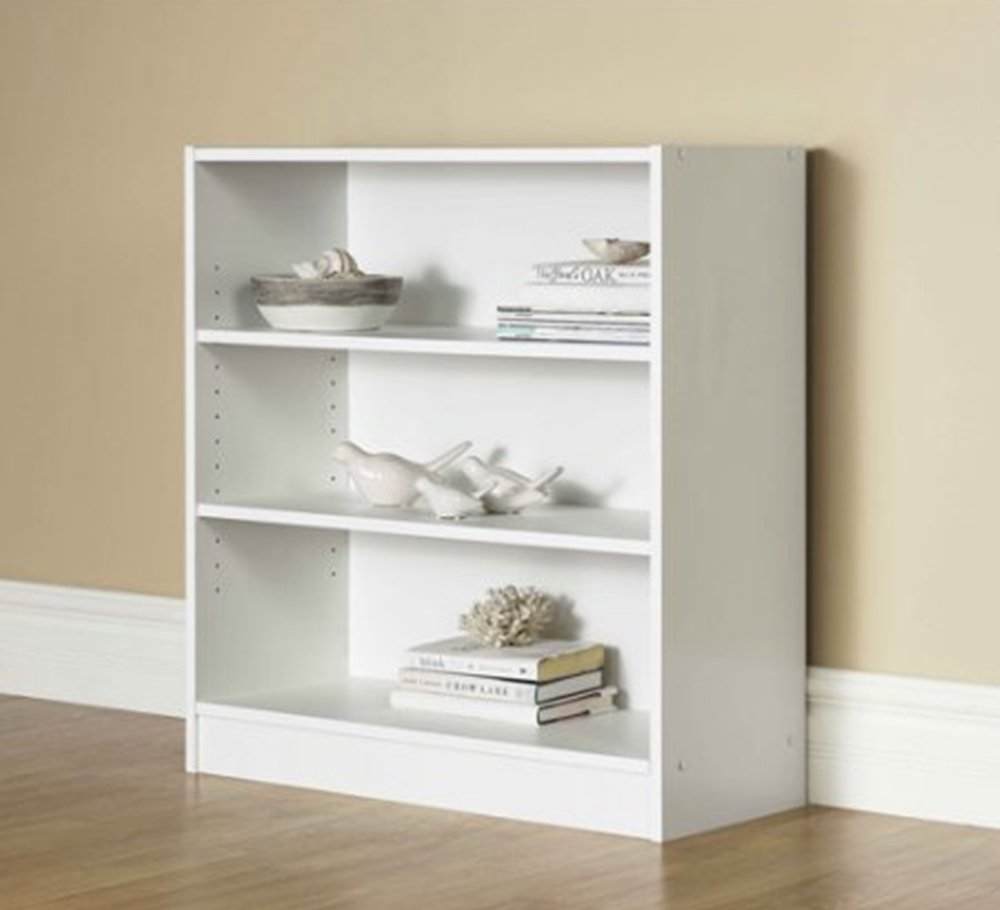 Mainstay.. 3-Shelf Bookcase - Wide Bookshelf Storage Wood Furniture, 1 Fixed Shelf 2 Adjustable Shelves Bookcase (White) by Mainstay..